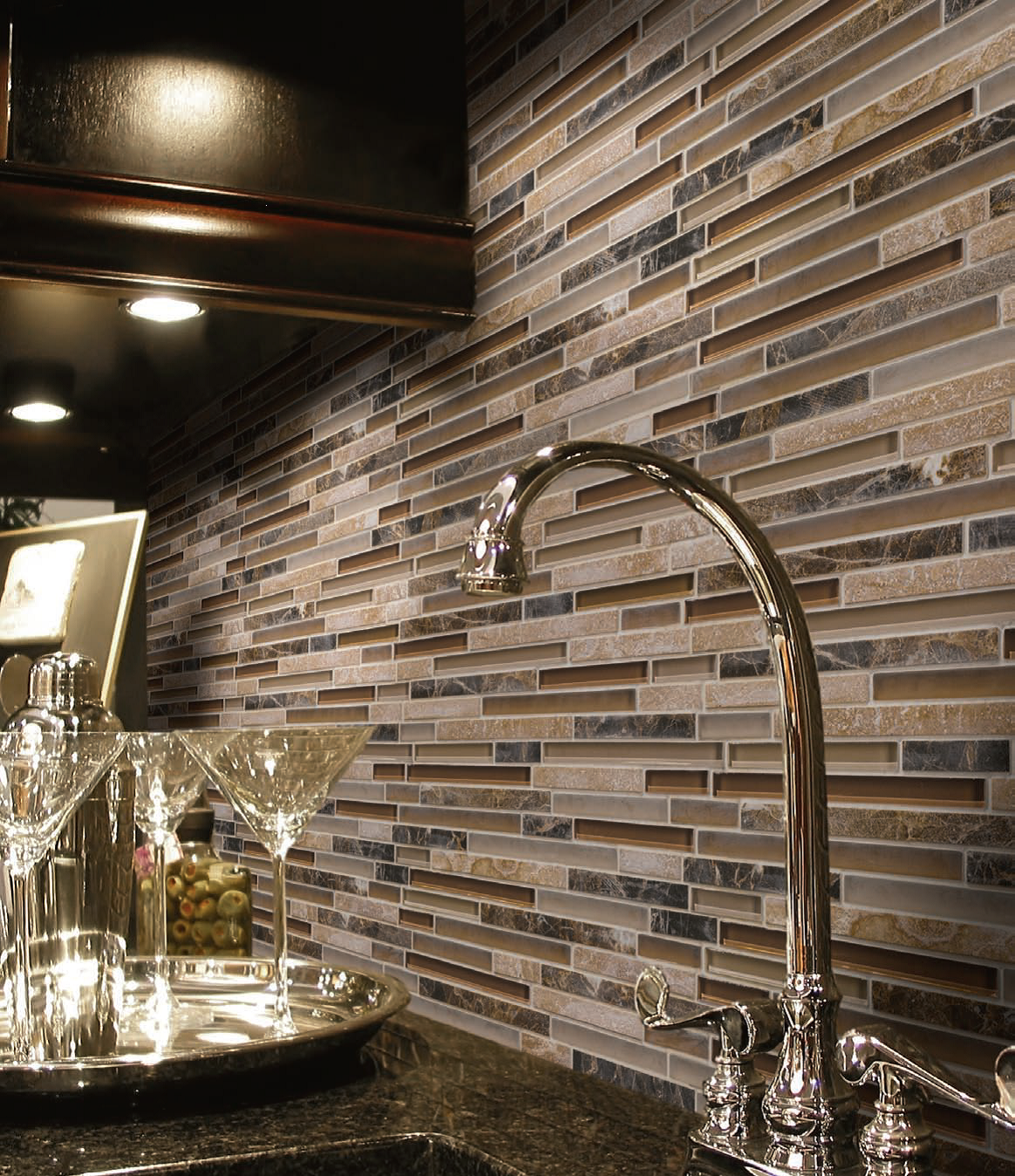 Inspiring Kitchens Linear Glass And Stone Mosaic