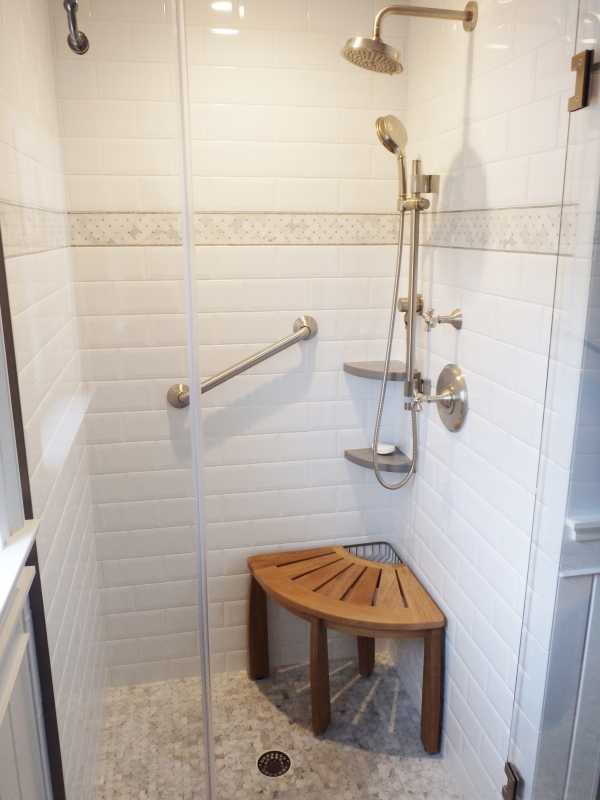 beveled subway tile design | Inspiring baths -- White Beveled Subway Tile Shower, at ...