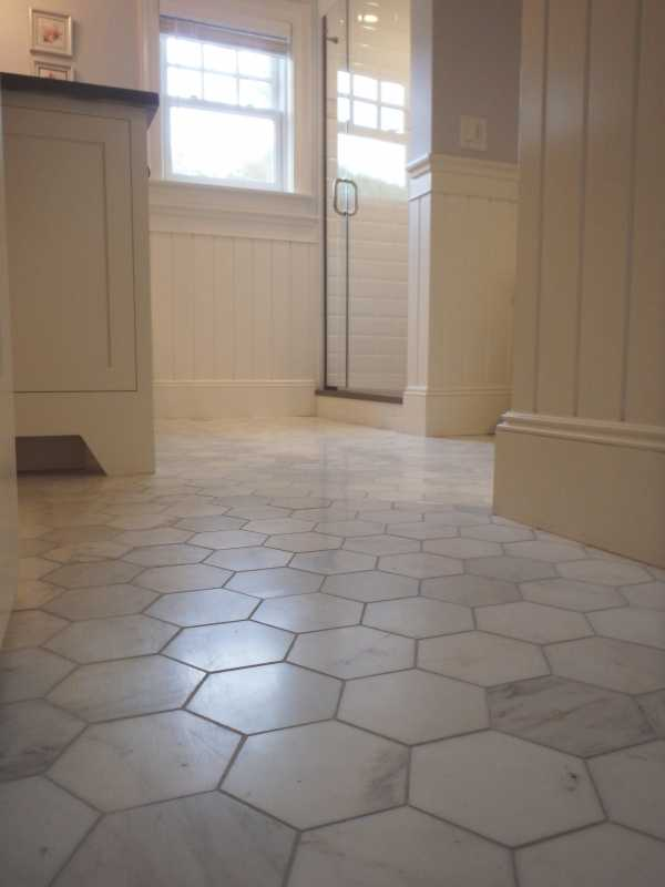 Tilery.marblehexagon.bathroom.floor.capecod.tile.5inch.hexagon