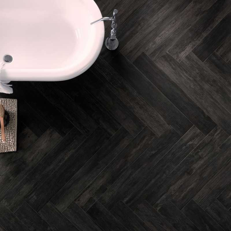 Noir bath floor herringbone