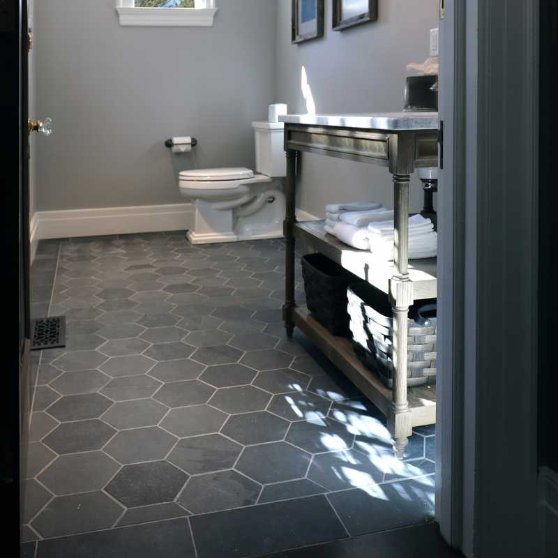 The-tilery-slate-hex-bath-floor