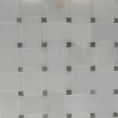 White-spain-grey microbasketweave mosaic-tilery