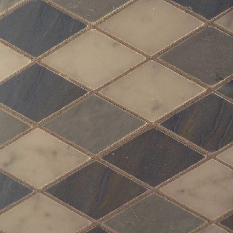 Diamond mosaic tilery custom bardiglio azul bianco copy