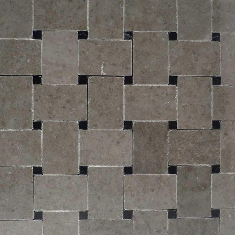 Spain-grey microbasketweave black dot tilery marble-mosaic