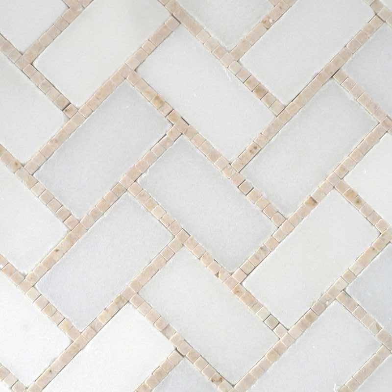 White creama polished microherringbone-tilery