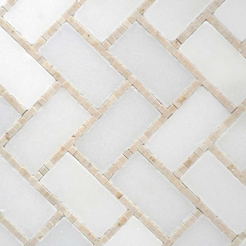 White creama polished microherringbone-tilery