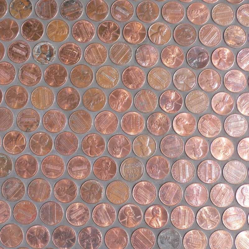 Copper penny mosaic crema marfil tile at the tilery for Copper tile pennies