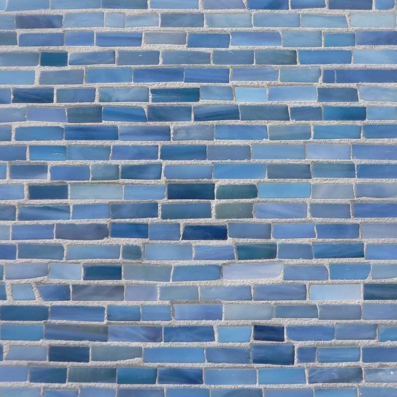 Turquoise blue glass mosaic at the tilery