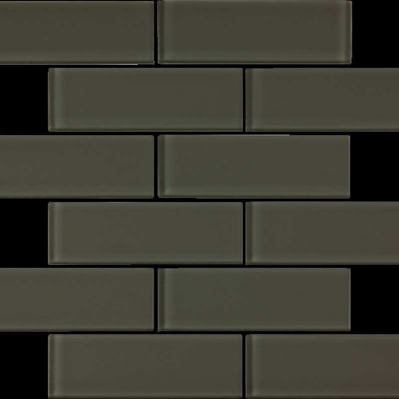 Carbon Glossy Glass Tile 2 x 6 Tilery