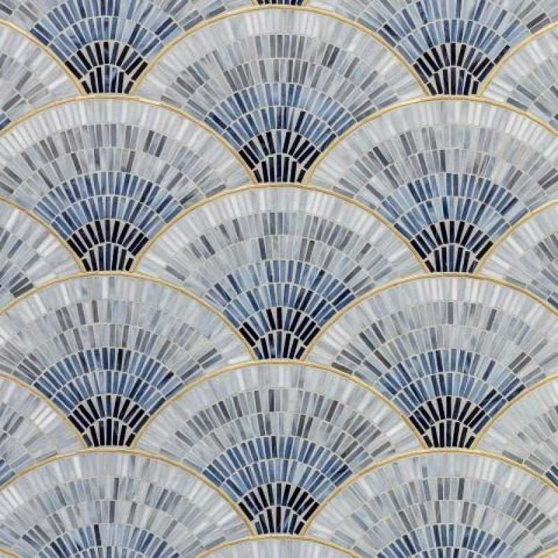 Blue ombre fan mosaic tilery