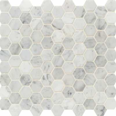 Tilery-biancocarrara3cmhexagon-capecod