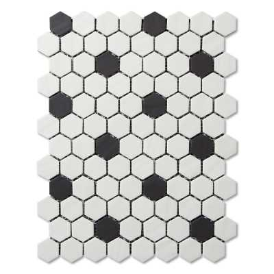 Adlg945-vintage black and white hexagon 1 tilery