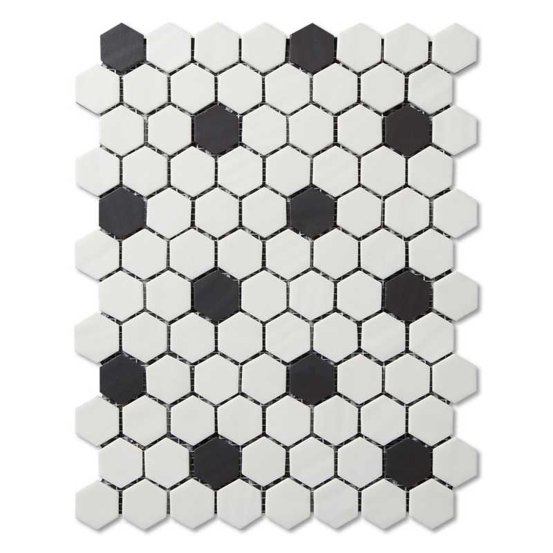 Adlg945-vintage black and white hexagon 1 tilery