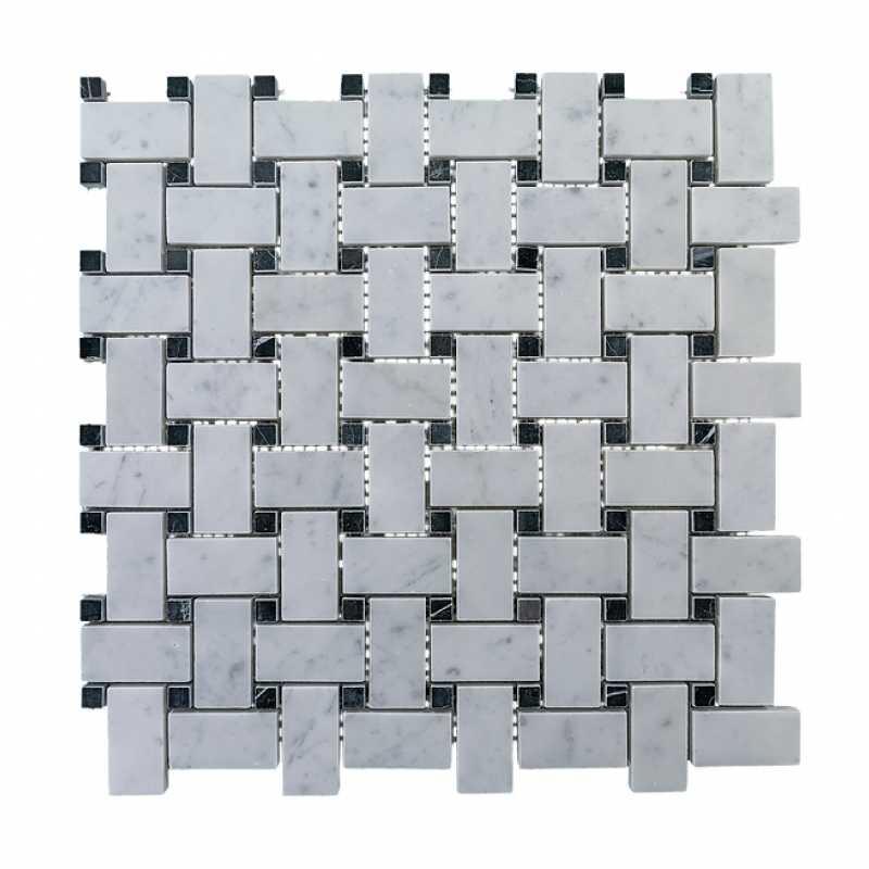 Carrara basketweave with black dot