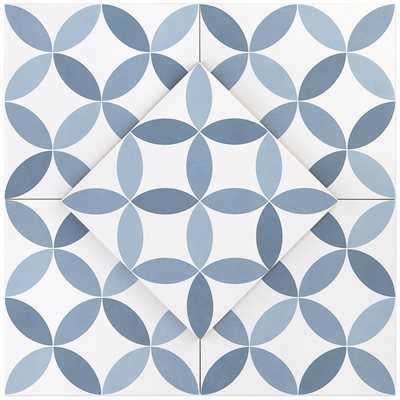 Steel blue 8x8 porcelain deco hamptons series