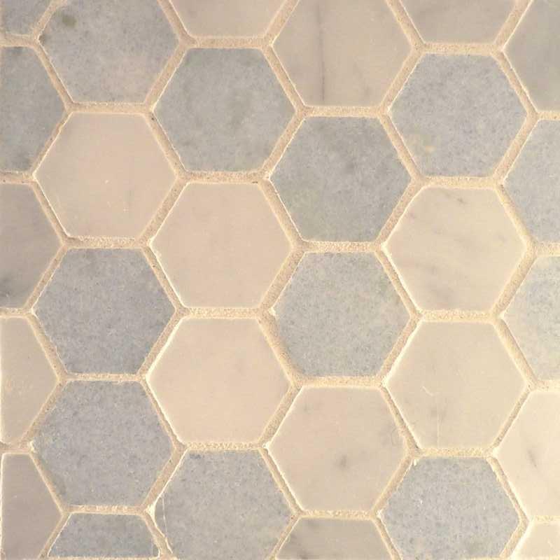 Custom hexagon mosaic tilery azul bianco mix copy