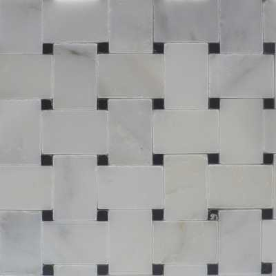 E-carrara-black microbasketweave tilery mosaic