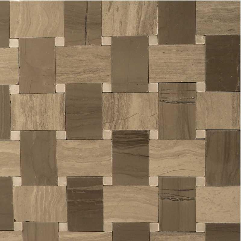 Light-wood dark-wood microbasketweave mosaic-tilery
