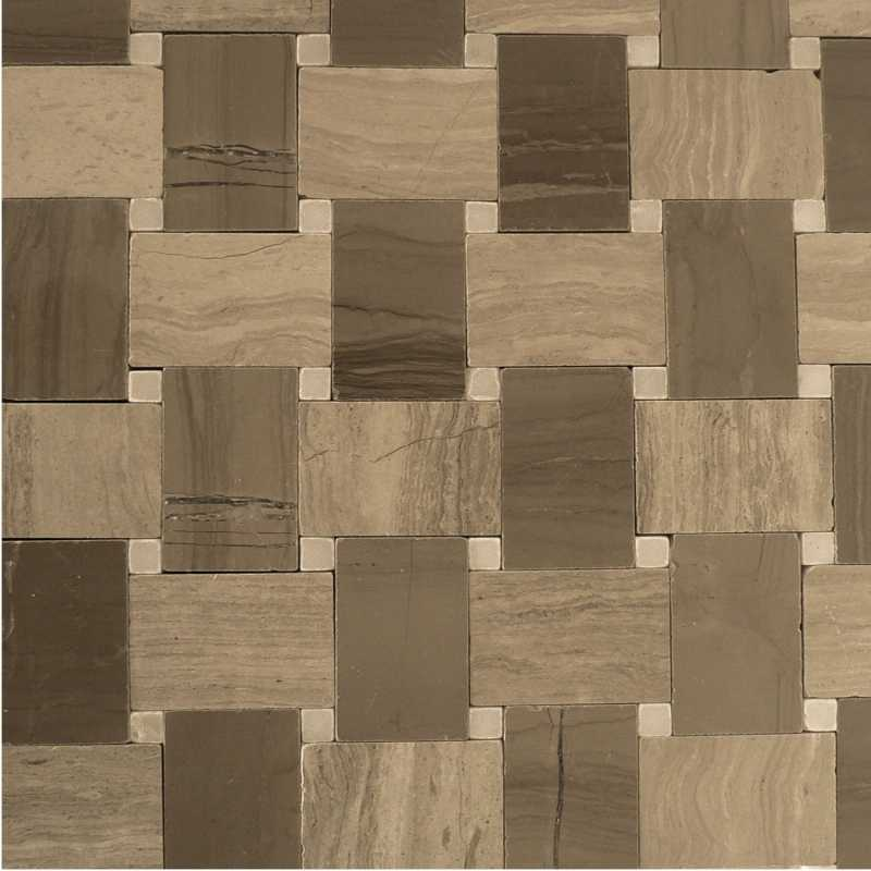 Light-wood dark-wood microbasketweave mosaic-tilery