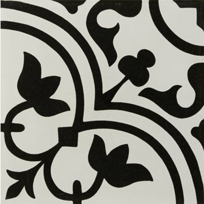 Tilery.hydraulic.black.porcelain.decorative.tile.12x12